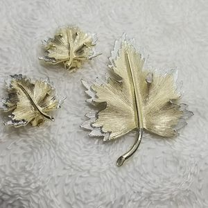 Sarah Coventry Leaf Pat Pending Pin Clip Earrings